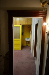 From the Butlers Pantry looking at the Yellow Bathroom
