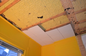 Acoustic Tiles coming down